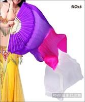 180cm Belly Dance Silk Fan Veils for Pair Purple - Rose - White  In Stock