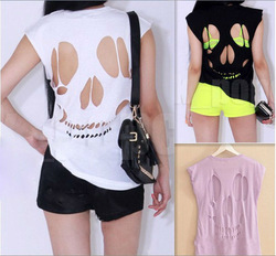 NEW WOMENS LADIES SLEEVELESS LONG CUT OUT BACK SKULL T SHIRT WOMENS TOP(China (Mainland))