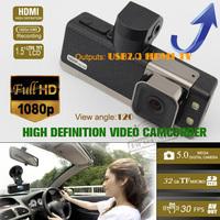 "HD 1080P High Definition Video Camcorder Car DVR G-sensor 1.5"" LCD Motion Detect HDMI Car Video Registrar GS2000!!Free shipping"