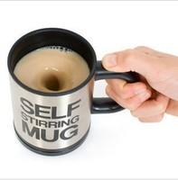 2pcs/lot fashion lazy stainless steel Self stirring mug Creative items enjoy Modern Life Popular all over the world! free ship