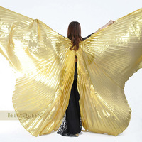 Free Shipping Egyptian Egypt Belly Dance Dancing Costume Isis Wings Dance Wear Wing  Split ends Gold & silver cloth golden wing