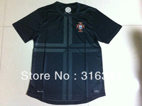 Free shipping 13/14 season best thai quality Portugal away black fans version short sleeve soccer football jerseys,Size:S/M/L/XL