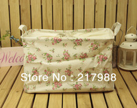 Free shipping.seller in Japan.Multipurpose Japanese grocery Zakka cotton and linen storage container,desktop box.pattern of rose