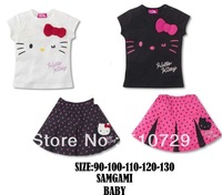 free shipping baby short sleeve clothing set girl's hello kitty tee + polka dot tutu fashion summer suits 5pcs/lot wholesale