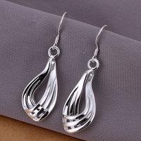 E230 Wholesale ! Wholesale 925 silver earrings, 925 silver fashion jewelry, three lines corrugated earrings