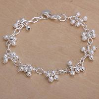 H087 Wholesale! Free Shipping Wholesale 925 silver bracelet, 925 silver fashion jewelry Purple Pendant Bracelet
