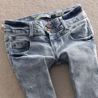 Free shipping Spring light blue jeans vintage denim double buckles low-waist pencil pants jeans women