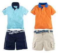 2013 Clothing Set Boys Polo Blue Short sleeve Casual Tops& Tees+Children Pants Infantil Boy Summer Clothing