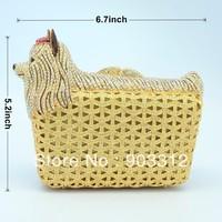 2013 Hot sales Luxury fashion party Crystal Maltese Dogs Clutch Evening Handbag Clutch bag evening Crystals