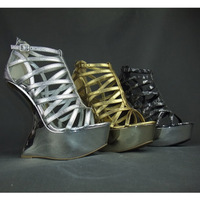 NEW Arrived Free shipping Romo mature Novelty strange wedges high heels platforms gladiator shoes sandals