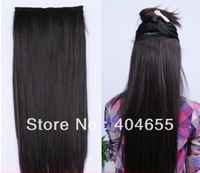 "natural black 20"" 22"" 24"" 26"" 28""  80g 100g #1b one piece set clips extensions 100% human hair free shipping"