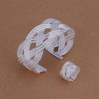 S284 Wholesale, free shipping 925 silver jewelry set, fashion jewelry set Huge Net Mesh Ring Bangle Jewelry Set