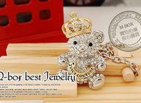 Min Order For 15 Dollars (Mixed Order)2013  Fashion Diamante Bear Pendant  Necklace  Free Delivery 2013 Perfect Decoration