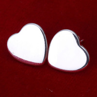 E010 Wholesale ! Wholesale 925 silver earrings, 925 silver fashion jewelry, Heart Plate Earrings
