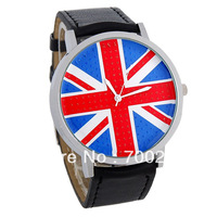 Freeshipping+luxury Ladies brand WOMAGE UK Flag Dial Women/Men&#39;s Analog sports Leather Children&#39;s Gift Wrist Watch