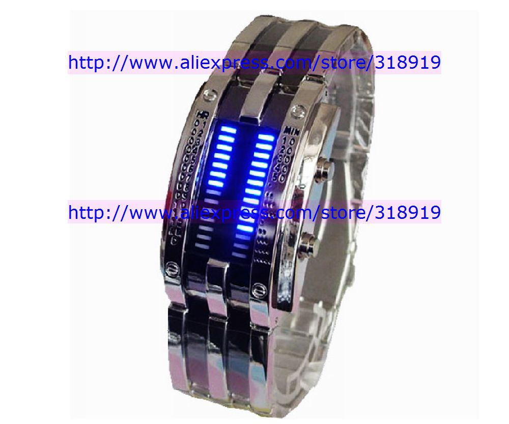 20pcs/lot Fashion Design Staineless steel Binary Digital Army Watch Quartz Knight LED Boys Men&#39;s Watches Wristwatch freeshipping(China (Mainland))