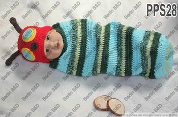 Sleeping Bag Beetle Cocoon Set for Newborn baby shower Gift Handmade Crochet Adorable beetle Red hat for Photo Prop