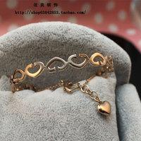 Free Shipping Love cutout heart rose gold opening female titanium bracelet
