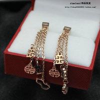 Free Shipping OL Sweet Elegant Drop Earring Hollow Pattern 18K Rose Gold Titanium Earrings For Women