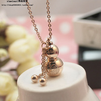 Free Shipping Glossy gourd fu word necklace women's 14k rose gold titanium jewelry color gold