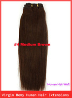 "12""-24"" Virgin 100% Remy Human Hair Straight Weft Extensions Hair Weft #4 Medium Brown 100g"