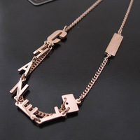 Free Shipping 2013 Fashion Jewelry Elegant Unique Aesthetic 14k Rose Gold Letter Necklace Titanium Necklace Statement Necklace