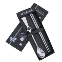 Quality stainless steel heart spoon chopsticks set lovers tableware spoon chopsticks portable tableware gift box