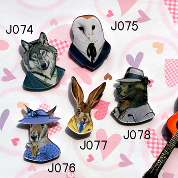 Mix order -min order is $ 20 acrylic badge popular hotsale brooch cartoon costume pin wolf rabbit bird  J074 J075 J076 J077 J078