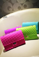 2013 spring and summer seven multicolour neon color candy color silica gel jelly chain bag beach bag