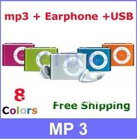 10 Sets/lot Hot Sale Mini Metal Clip Sport MP3 Music Player+ Earphone +mini USB Cable