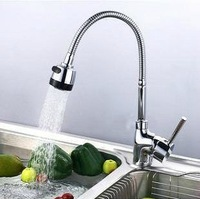 Free Shipping Kitchen Sink Faucet With Plumbing Hose All Around Rotate Swivel 2-function Water Outlet Mixer Tap Faucet  FKK-10