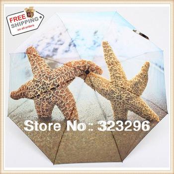 Free Shipping ! 2pcs/lot Anti-UV Waterproof high quality sunshade Solar starfish umbrella & beach Sun / Rain 3 Fold Umbrella