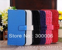 Hot selling Free shipping&50pcs/Lot New Crocodile Magnetic Wallet Red Flip Leather Case for Samsung i9500 Galaxy S4 IV