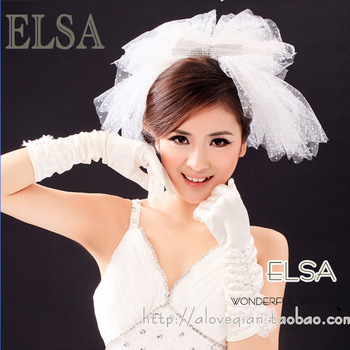 2013 bridal veil hair accessory wedding dress long design multi-layer bow veil