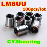 100pcs/lot 8mm 8mm*15mm*24mm 8x15x24mm LM8UU LB8UU SDM8 LM-8 LB-6 SM-8 LM81524 linear motion ball bearing bush bushing for CNC