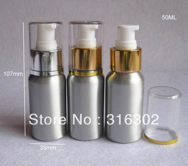 Free Shipping 12x Cosmetic Packaging 50ml Aluminum Lotion bottle, Metal Container Pump, DIY Liquid Storage Tool(China (Mainland))