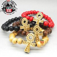 2013 new style Ankh ankh cross good wood hiphop wood bracelet wool nyc