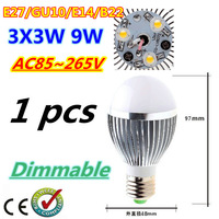 1pcs/lot Bubble Ball Bulb 3LED 9W E27 GU10 High power Ball steep light LED Light Bulbs Lamp Lighting tube Free shipping