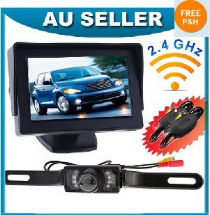"Wireless IR Reversing Camera + 4.3"" LCD Monitor Car Parking Security Kit"