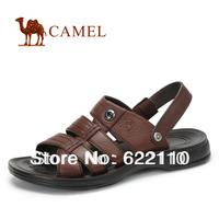 CAMEL  male leather sandals for summer;black fashion sandals