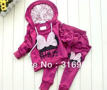 Children's suits Girls Cartoon Clothing Set Kids Lace Minnie Sports Suit Children Hoodie+Harem Pants 2pcs Garment Free shipping