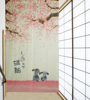 Free Shipping Full Happiness Cherry Blossom and Dogs Japanese Noren Door Curtain Joy-3057