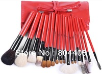 Hot selling !  Professional top quality hot red  18pcs travel makeup brush set, cosmetic brush set