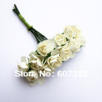 144 / lot  Cream Mulberry Paper Rose Flowers Bouquet/wire stem/ Artifical  flower Free shipping PA-17