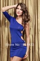 Fashion one shoulder blue cutout short-sleeve evening dress one-piece dress