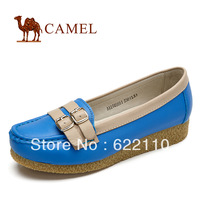 free shipping CAMEL women's the first layer of cowhide metal buckle belt comfortable single shoes flat casual shoes