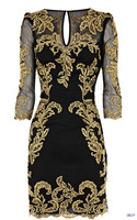 Free Shipping Brand Name Fashion Yellow Embroidery Black Elegant Three Quarter Sleeve Sexy Slim Fit Classic Party Dress 2013