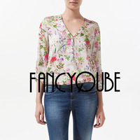 NEW V-NECK ROLL UP SLEEVE FLORAL PRINTS LOOSE FIT CHIFFON SHIRT TOP 3527
