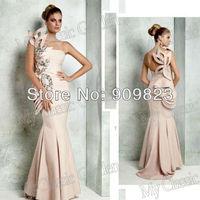 Tarik Ediz One Shoulder Strapless Nice Silvery Beaded Pattern Natural Waist Fromal Mermaid Designer Evening Gowns Dress