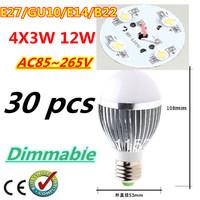 Free DHL and FEDEX 30pcs/lot Retail Dimmable Bubble Ball Bulb AC85-265V 12W E14 E27 B22 GU10 High power Globe light LED Light